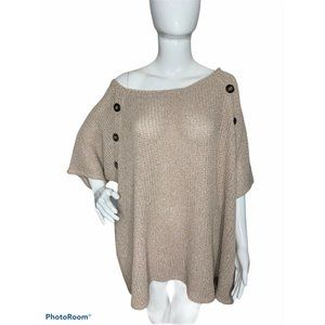 Womens Plus 26/28 Tan Knit Short Sleeves Top NEW
